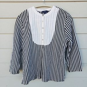 CHAPS Pleated Square Neck Blouse, XL